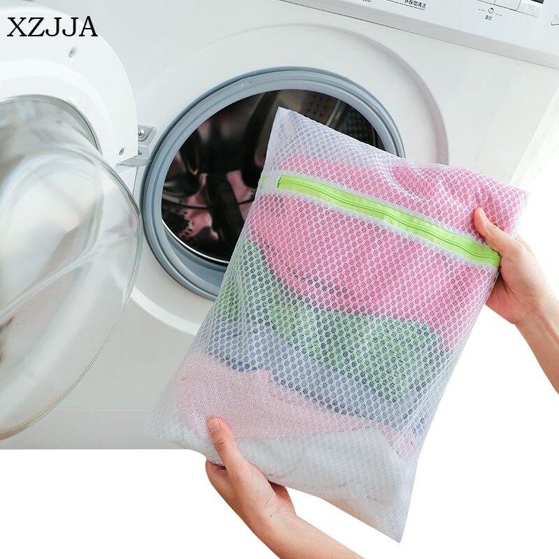 XZJJA 1PC Nylon Honeycomb Grid Laundry Bag Underwear Bra Socks Washing Pouch Washing Machine Mesh Bag Zipper Protector Net Case
