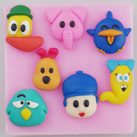 FREE Shipping POCOYO Famous Cartoon Characters Diy Handmade Chocolate Mold Clay Mold Cake Silicon Mold
