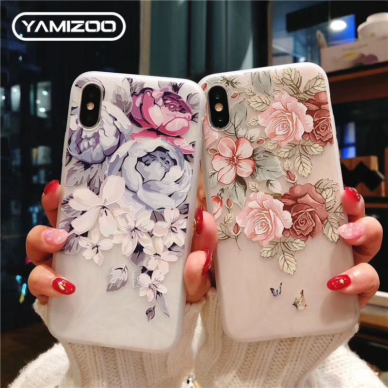 1398d542819 YAMIZOO For iPhone X Case Luxury Silicone Cute GIrls Flower 3D Soft TPU  Phone Cases For iPhone 5 6 6s 7 8 XS Max XR 5S SE Case