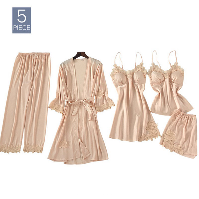 5 piece   Pajamas     Set   Women Silk Sleeveless Tops + Long Pants + Robes Sexy Lingerie Sleepwear Nightwear bridesmaid kimono