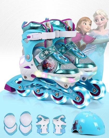 Enfants chaussures de patin à roulettes en ligne casque genouillère équipement réglable lavable roues dures chaussures de Skate pour 3-10 ans