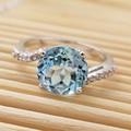 Ronda de moda clásico cristal violeta natural anillos de plata de ley 925 natural piedra semipreciosa anillo de compromiso para la mujer
