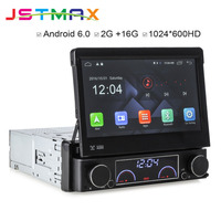 JSTMAX Quad Core 2G RAM 7 Inch One Din Car DVD GPS Player Retractable TouchScreen Android 6.0 Wifi 4G GPS Bluetooth