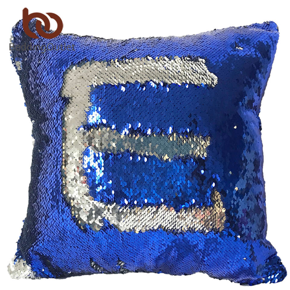 BeddingOutlet Mermaid Sequin Cushion Cover Magical Changing Blue Silver Fashion Decorative ...