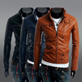 2015 Direct Selling Hot-selling Autumn And Winter Zipper Button Outerwear Male Stand Collar Motorcycle Leather Clothing Jacket