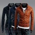 2015 de la venta directa otoño caliente venta e invierno Zipper botón abrigos para hombre del Collar del soporte de cuero de la motocicleta chaqueta de la ropa