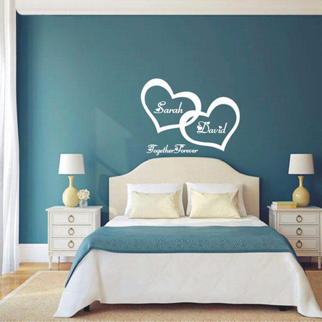 asapfor symbol of love forever wall sticker double heart custom rh aliexpress com bedroom wall art canvas bedroom wall art amazon