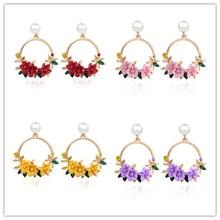 Корейский стиль серьги-кольца цветок для женщин золотой цвет круглый круг кристалл серьги подарок для свадьбы ювелирные изделия