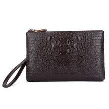 Men Day Clutch Wallet Genuine Leather Zipper 3D Crocodile Pattern Long Male Purse Phone Case Vintage handbag
