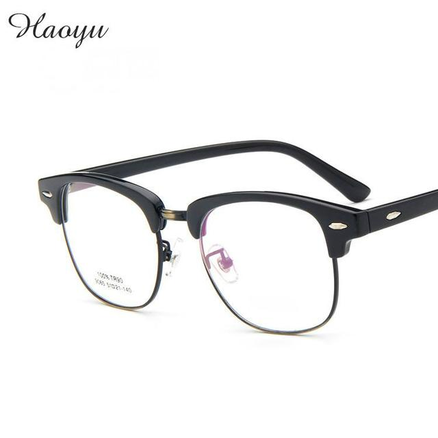 eeaa8e9f4ae haoyu High Quality 2016 Retail Fashion plastic titanium Glasses frames  Retro Inspired Club Elegant TR90 glasses Gafas frame 9065