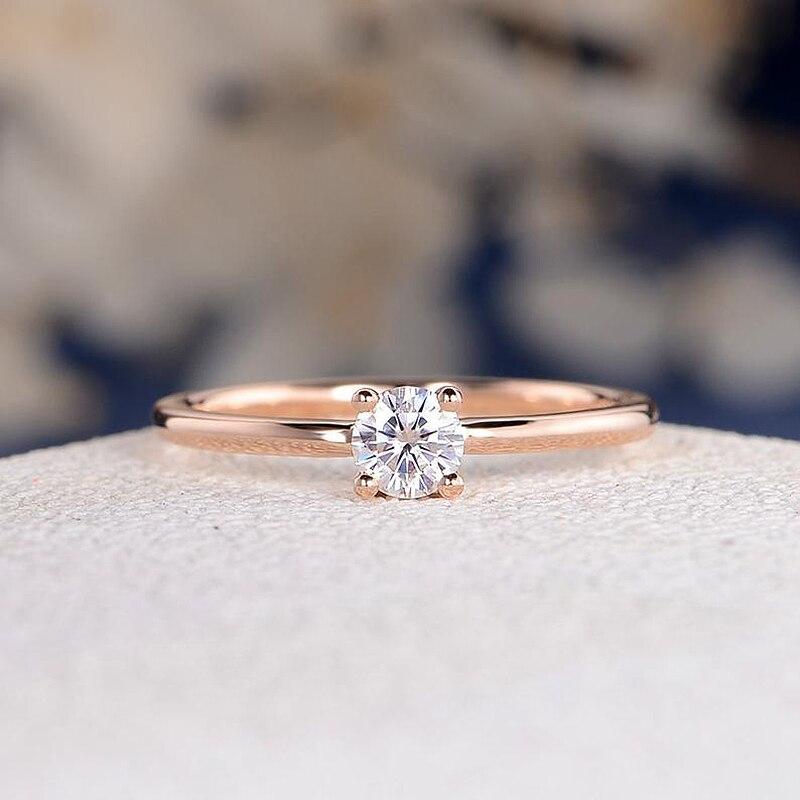 18K розовое желтое золото 4 мм Moissanite кольцо обручальное кольцо изящное Пасьянс Обручальное кольцо для женщин Свадебное обычное простое кольц
