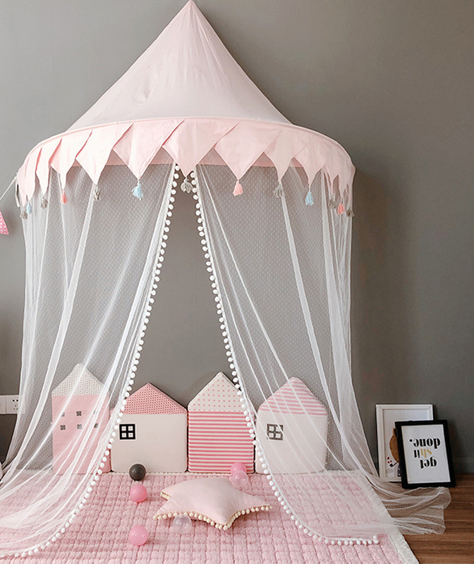 Nordic Baby Canopy Beds Kids Play Tent Princess Pink Blue Play House Tipi Enfant Children Room Decoration Children's Day Gift
