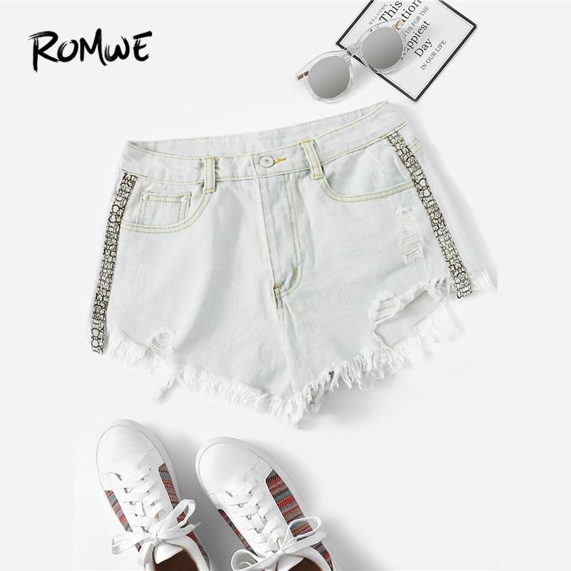 ROMWE Ripped Frayed Edge Denim   Shorts   2019 Posh Blue Women Summer Ribbon   Shorts   Fashion Style Female Button Fly   Shorts