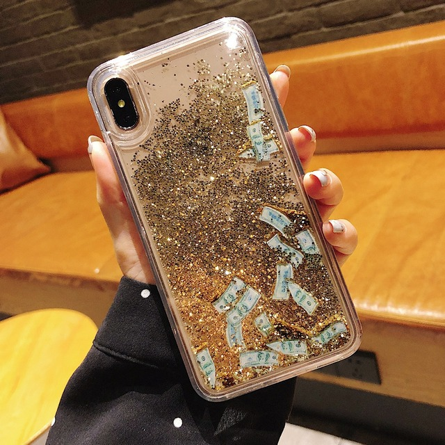 Dollar Gold color quicksand case for iphone X XS MAX case silicone TPU PC Dynamic liquid glitter cover for iphone 6 6s 8 7 plus
