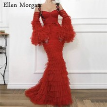 Arabic Red Mermaid Evening Dresses 2019 Straps Long Sleeves Sweep Train Lace Dubai Caftan Zipper Elegant Formal Party Gowns