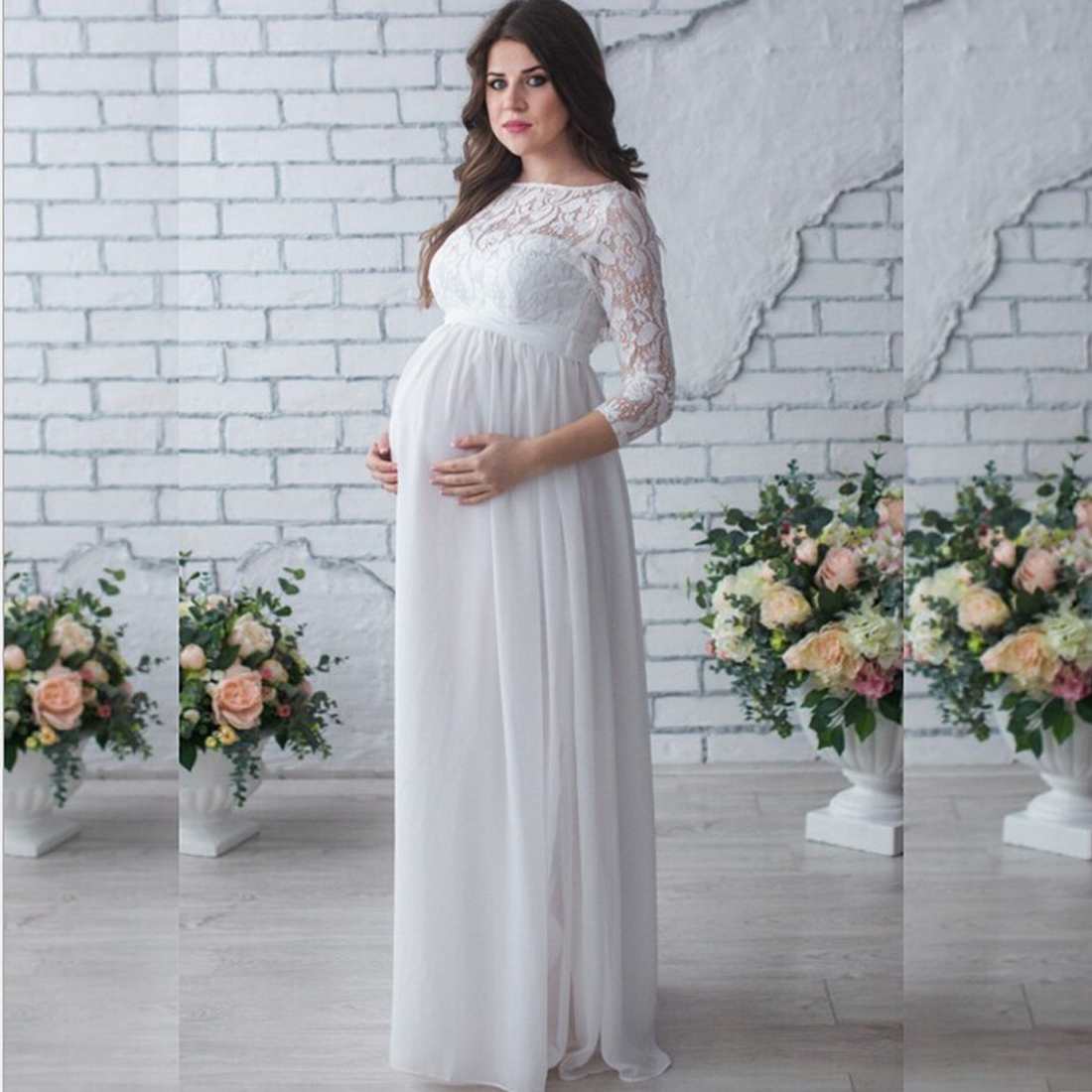 YJSFG HOUSE New Fashion Pregnant Women Lace Dresses Gown Maxi White ...