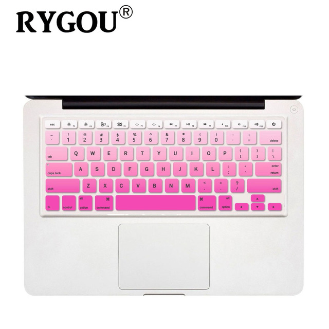 Gradient ombre colors us layout silicone keyboard skin cover for macbook pro 13 15