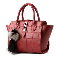Fashion PU Leather Handbag Metal Buckle Design Women's Messenger Crossbody shoulder bag with Plush Pendant