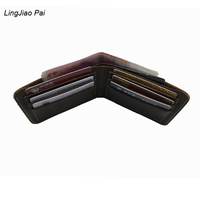 LingJiao Pai Travel Crazy Cow Skin Mens Slim Wallet With Genuine Leather