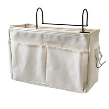 Cloth Bedside Hanging Storage Bag Holder Organizer for Dorm Hospital Bed Rails Home Storage Organization - Upgrade White(China)