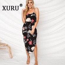 XURU Summer New Hot Floral Print Ruffle Sling Split Sleeve Dress Bohemian Beach Holiday