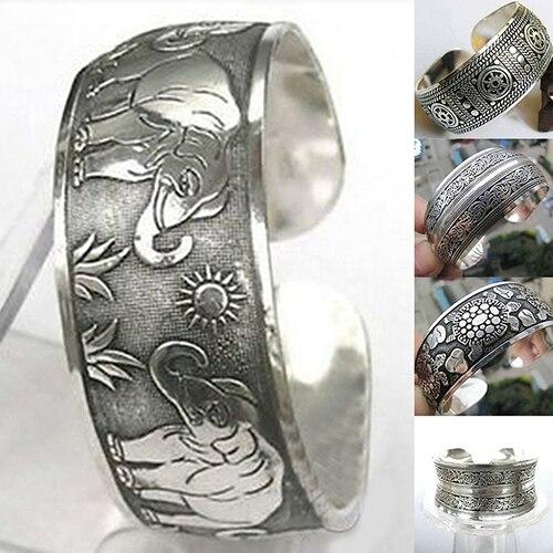 Vintage Tibetan Silver Elephant Carved Open Bangle Cuff Wide Bracelet Jewelry