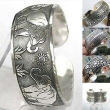 Elefante de plata tibetana Vintage tallado abierto brazalete pulsera ancha joyería