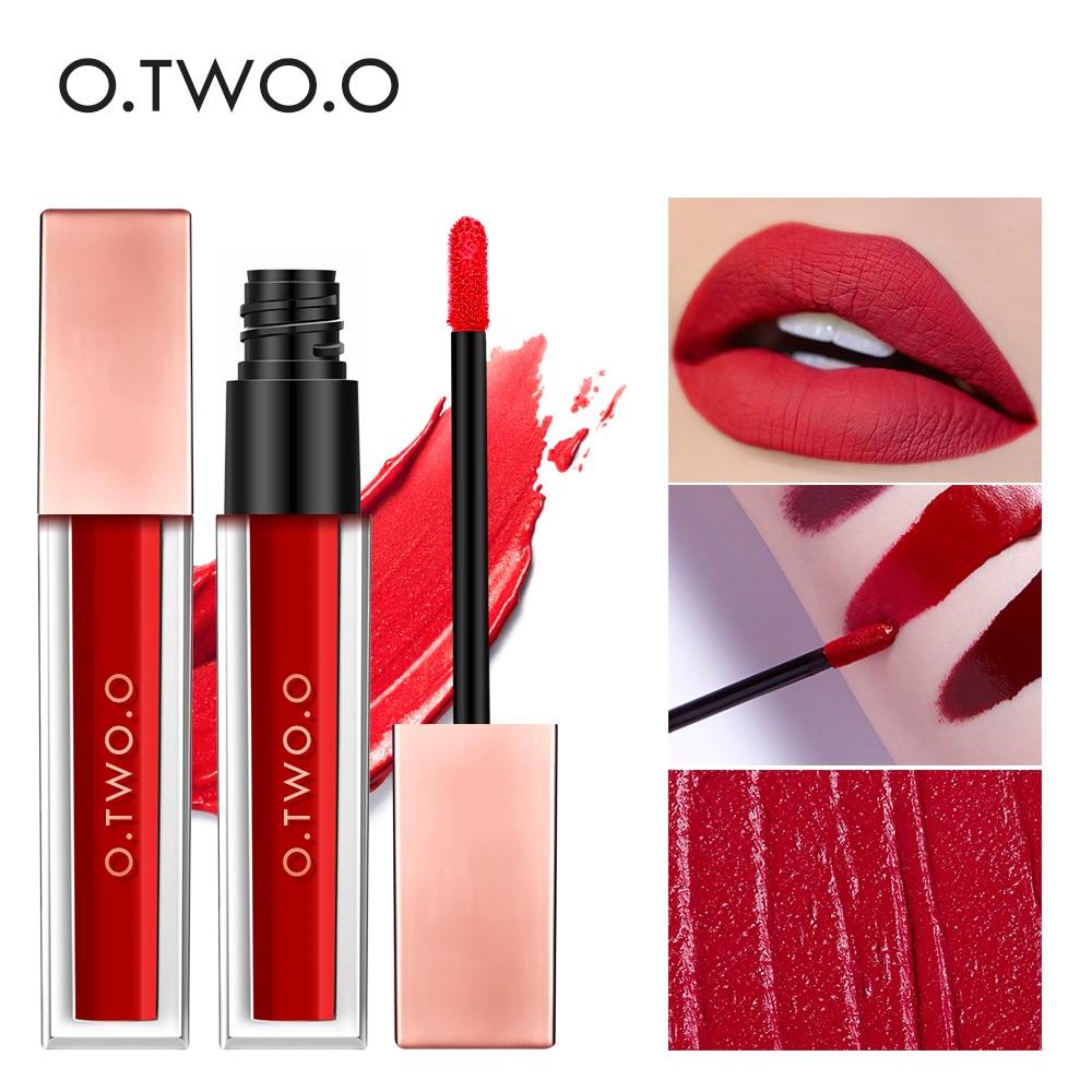 O.TWO.O Rouge à lèvres liquide velours brillant à lèvres mat imperméable longue durée hydratant Rouge à lèvres Pigment Rouge maquillage des lèvres