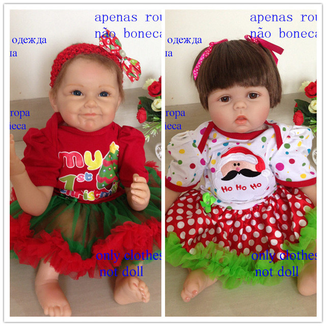 Best Price 22Inch Reborn Baby Doll Christmas Style Cute Dress For 55cm Silicone Reborn Baby Doll Hot Sell Doll Christmas Gift