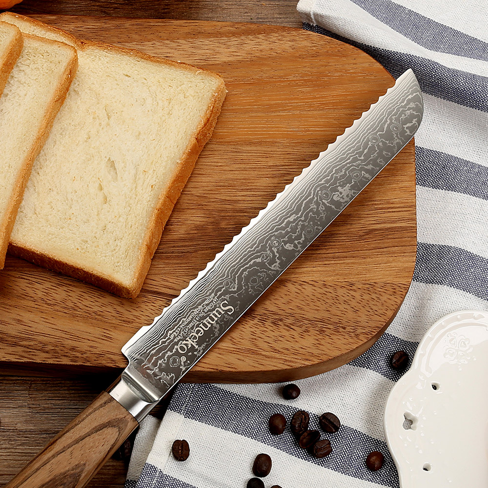 SUNNECKO 8 inch Damasucs Bread Knife Japanese VG10 Steel Blade Original Wood Handle Breakfast Slicing Cutting Kitchen Knives