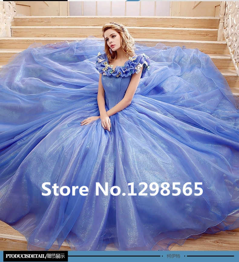 2015 Movie Cinderella Dress Cinderella Wedding Dress Blue & White Dress New Cinderella halloween costumes for women