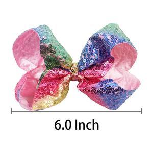 Image 5 - Pinzas para el pelo con lazo para niña pequeña, pinzas para el pelo con purpurina de 6 pulgadas, 18 Uds., pinzas de cocodrilo de arco iris de lentejuelas, accesorios para el cabello