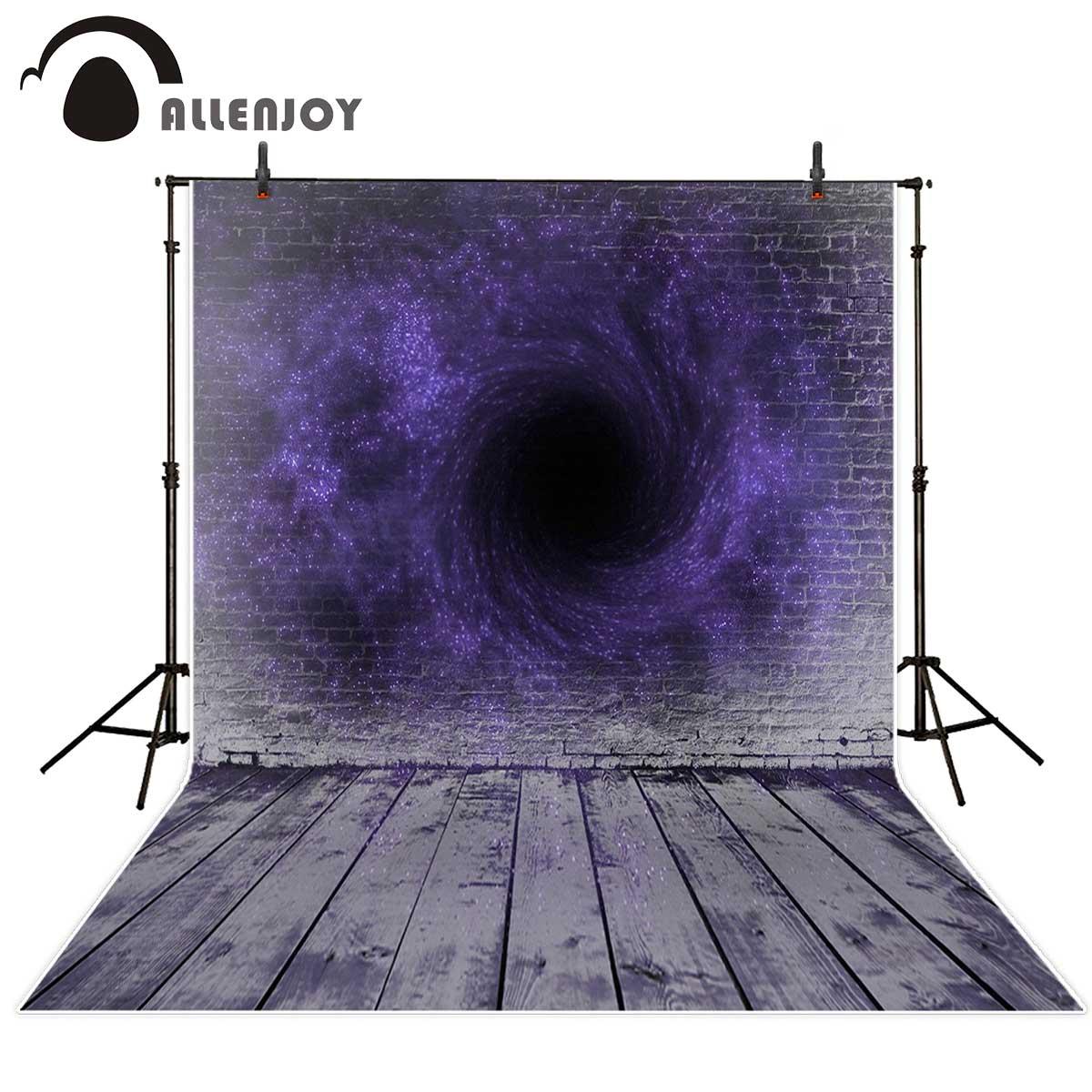 Allenjoy Halloween backdrop brick wall wooden floor secret purple magic vortex black hole photo backdrop background photography