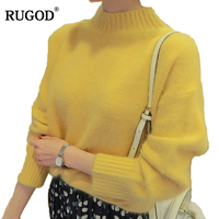 Rugod 2019 New Sweater Women Pullovers O Neck Long Sleeve Knitted Cashmere Sweaters Solid Warm Plush Jumper Christmas Sweater