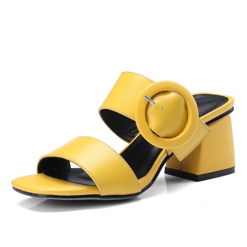6 Talon 5 Femmes Véritable Pantoufles Qualité Cm D'été Cuir yellow Black white Haute QstCrhd