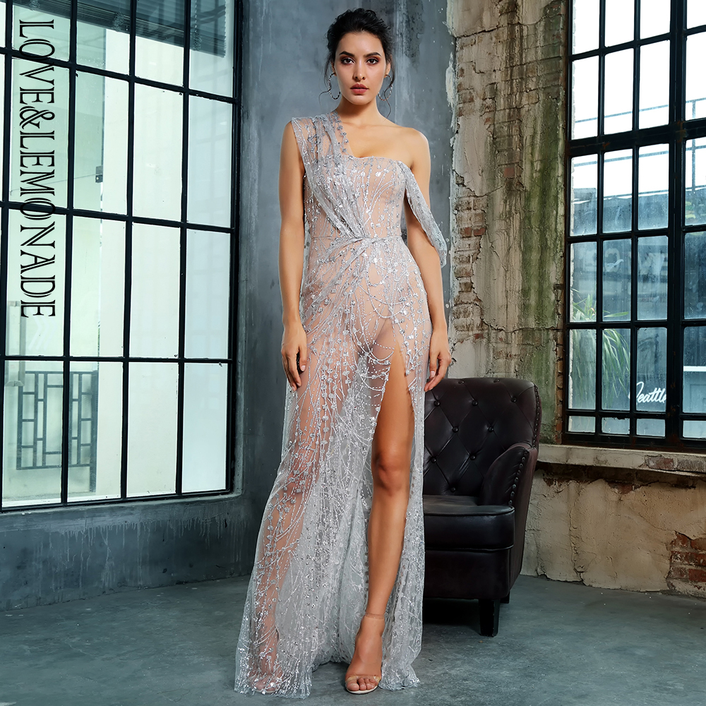 Love Lemonade Silver Cross Cut Out Straps Glitter Glued Material Long Dress LM1360