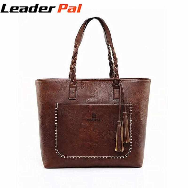 d7ec2e507 LeaderPal 2018 PU Bolsa de Couro Mulheres Top Handle Satchel Bolsas Tote  Bag Bolsa de Ombro Grande Capacidade Do Vintage Saco Crossbody