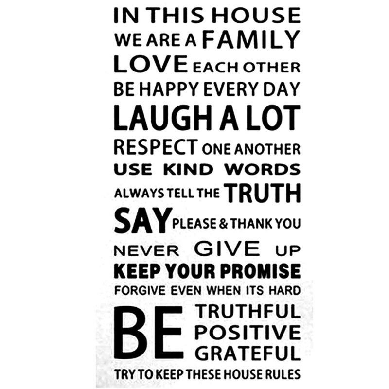 English Proverbs Wall Sticker Family House Rules Wall Stickers ... | title