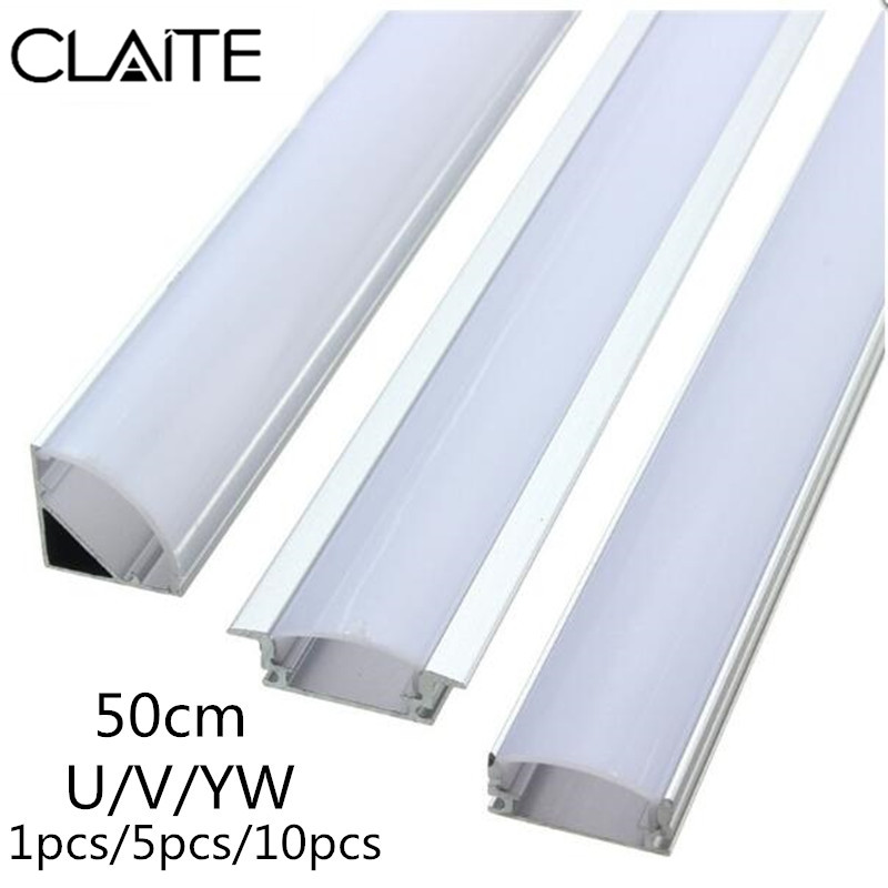 CLAITE 1x 5x 10x U V YW Three Style 50cm Aluminium Channel Holder for LED Strip Light Bar Under Cabinet Lamp Kitchen 1.8cm WideCLAITE 1x 5x 10x U V YW Three Style 50cm Aluminium Channel Holder for LED Strip Light Bar Under Cabinet Lamp Kitchen 1.8cm Wide