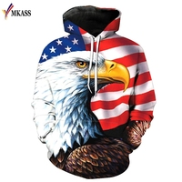 MKASS Eagle 3D Print Hoodies Sweatshirts Men Fashion American Flag Hooded Sweats Tops Hip Hop Unisex