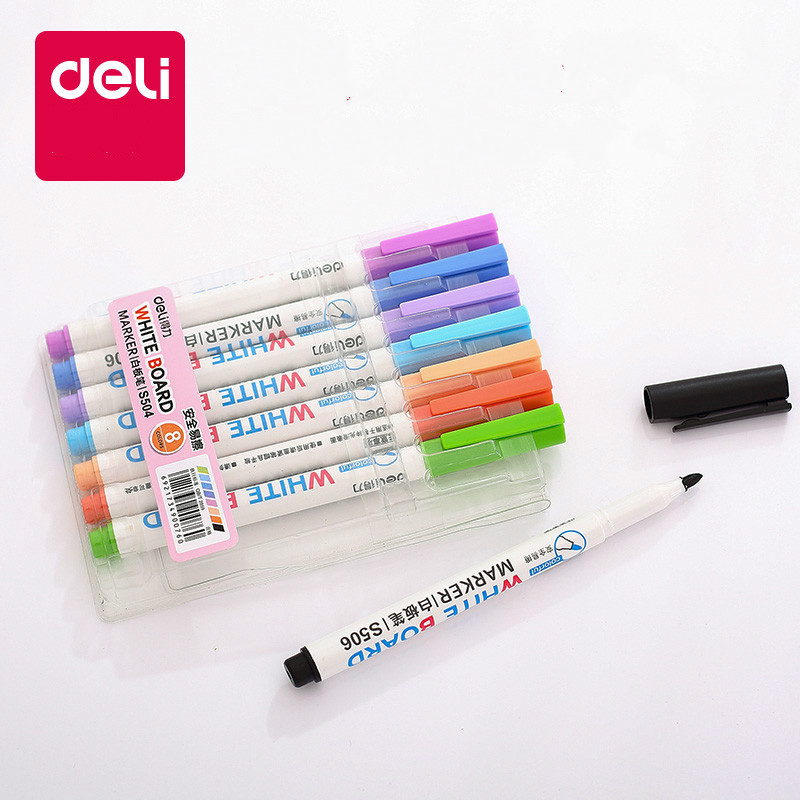 DELI whiteboard pen 8/12 colors /set water-erasable color whiteboard pen office school supplies reisenthel сумка allrounder l dots e5x dkcr