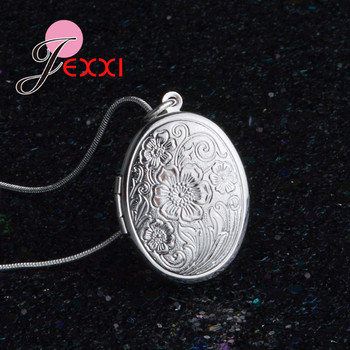 Elegant Retro 925 Sterling Silver Necklace Round Open Locket Pendant Necklaces Photo Women Collar Jewelry - discount item  35% OFF Fine Jewelry