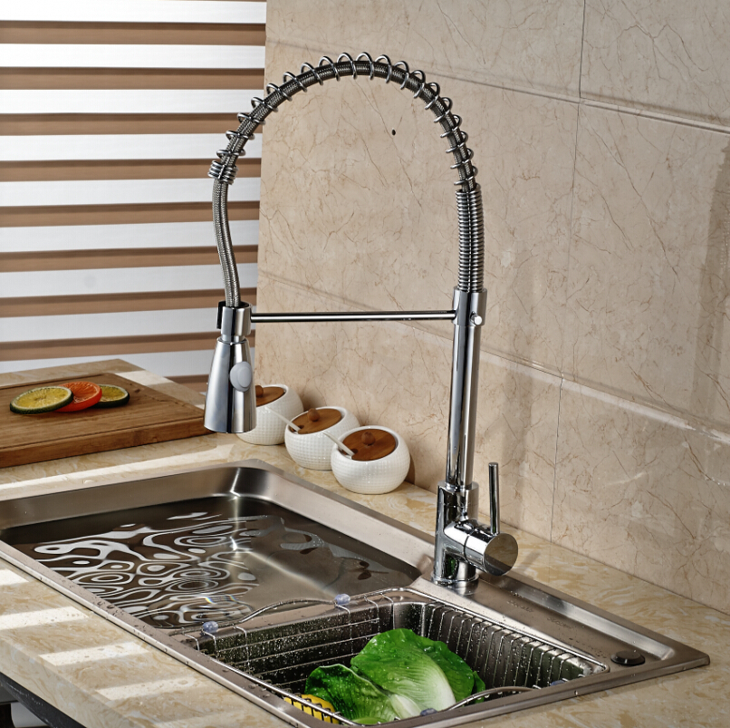 ФОТО Rotation Dual Sprayer Nozzle Kitchen Sink Faucet Single Handle One Hole Hot and Cold Water Taps Chrome Finish