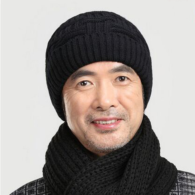 1 Pcs 2015 New 100% High-grade Acrylic Add Wool Skullies Beanies Cap Men Autumn Winter to Warm Middle-aged And Old Mens Hat