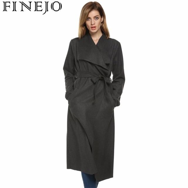 FINEJO Femmes Automne Hiver Long Laine Tranchée Manteau Avec Ceinture  Vintage Casual Top Qualité Tournent Vers 4c728b77c3b