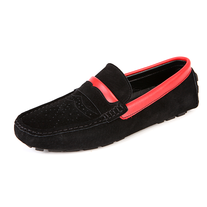 Loafers men casual shoes leather cow suede Article color roll sneakers Holes Breathable driving shoes non slip RAPQUE