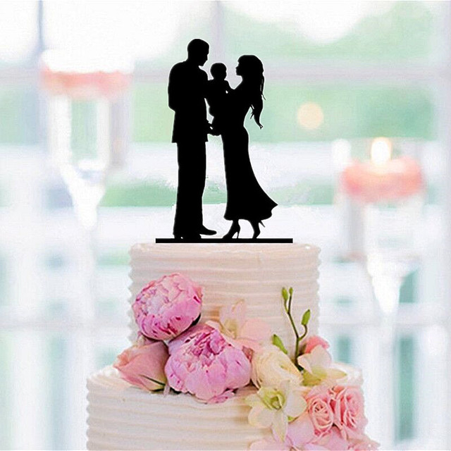 wedding cake topper couple with child family silhouette cake topper and with a baby 26310
