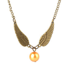 Geometric round Gold Snitch Harry Time Turner Necklace Feather Angel wings Vintage Men movie Pendant Necklace jewelry(China)