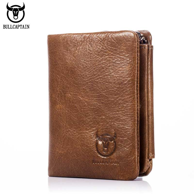 BULL CAPTAIN Vintage Leather Trifold Wallet Men Zipper Hasp Wallet Fashion MALE Short Wallets Card Holder Money BAG Coin Purse sendefn fashion vintage women wallets short design split leather trifold purse wallet with zipper coin pocket