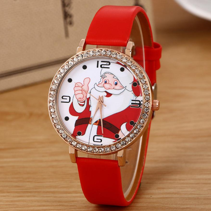 цена на Luxury Brand Fashion Casual Ladies Watch Quartz Clock New Christmas Old man Pattern Leather Band Analog Quartz Vogue Watch 40p